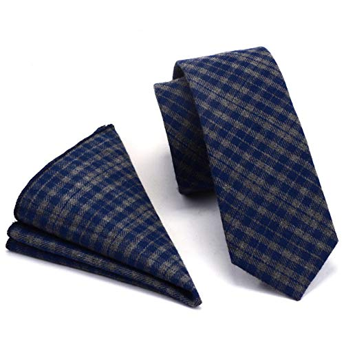 GUSLESON Mens Gray Blue Plaid Tie Thin Cashmere Cotton Skinny Necktie and Pocket Square Sets (0792-13)