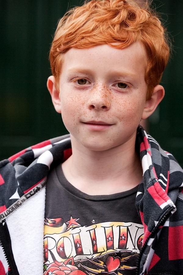 Red Head Clean Curls Haircut for boys