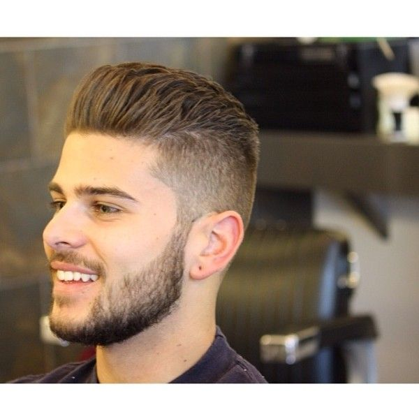 backcombed hairstyle with beard
