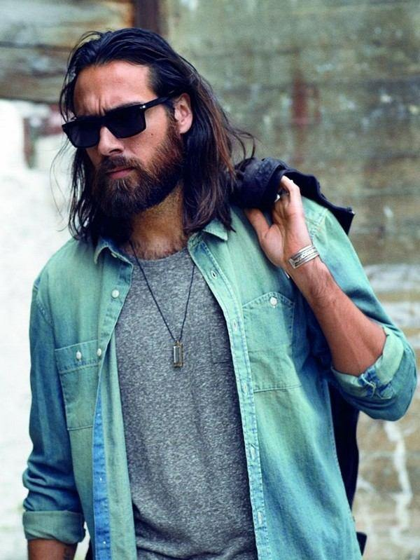 long hairstyle with beard