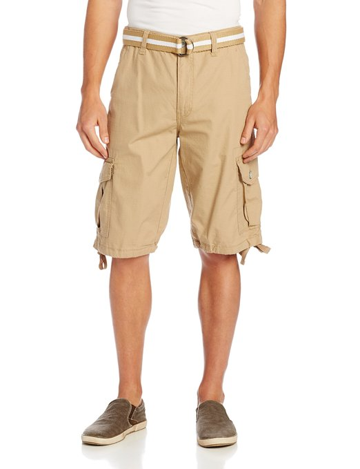 Southpole Mens Belted Ripstop Cargo Shorts