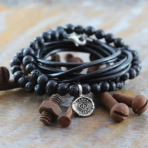 Mens Bracelets Leather And Silver