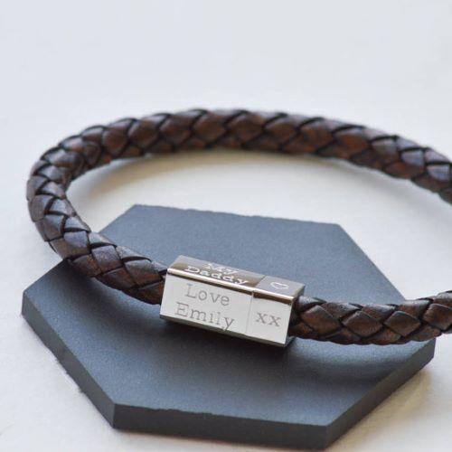 Silver Mens Bracelets Engraved