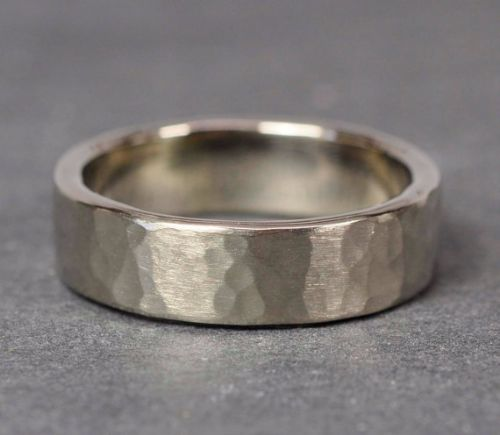 Hammered Palladium Mens Rings