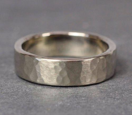 Hammered Palladium Mens Rings