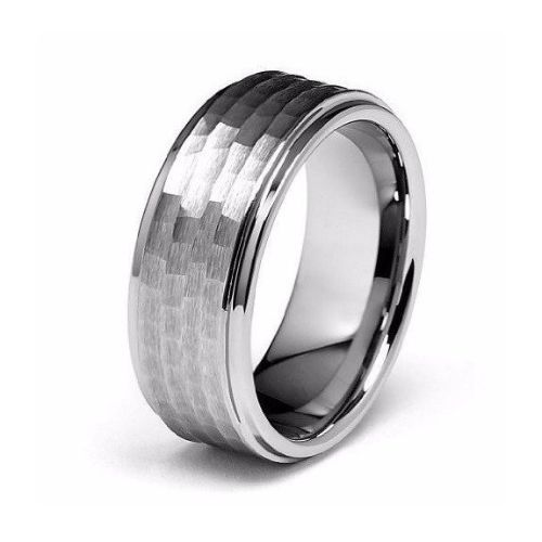 Hammered Silver Mens Rings