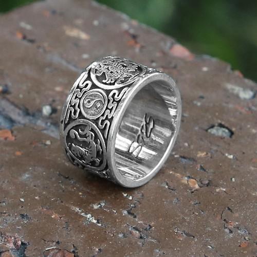 Dragon Sterling Silver Mens Ring