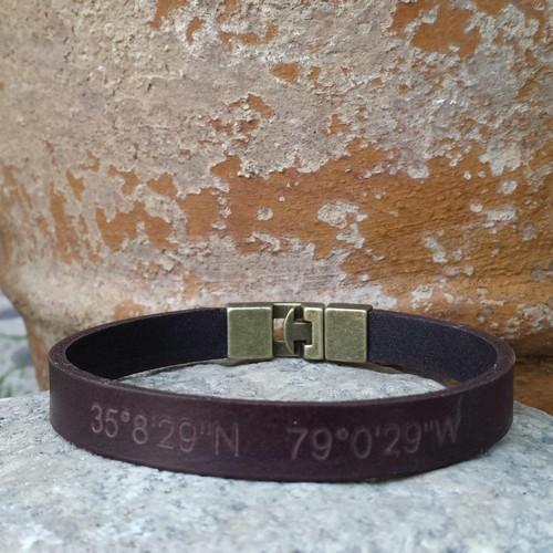 Mens Bracelets Leather Engraved