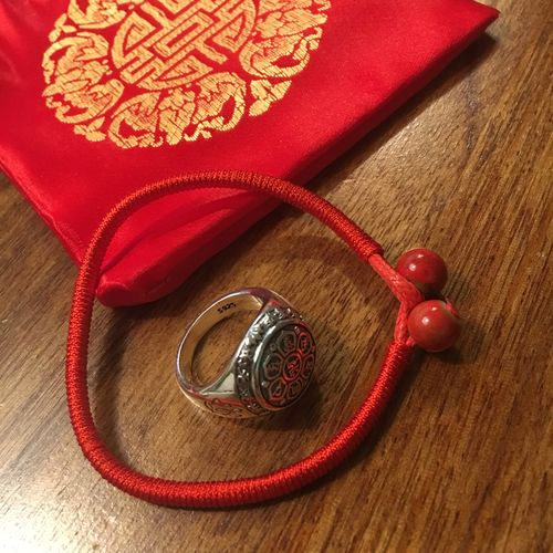 Red String Mantra Ring