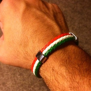 Italian Flag Leather Bracelet for Men