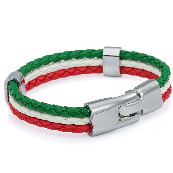 Italian Flag Leather Bracelet