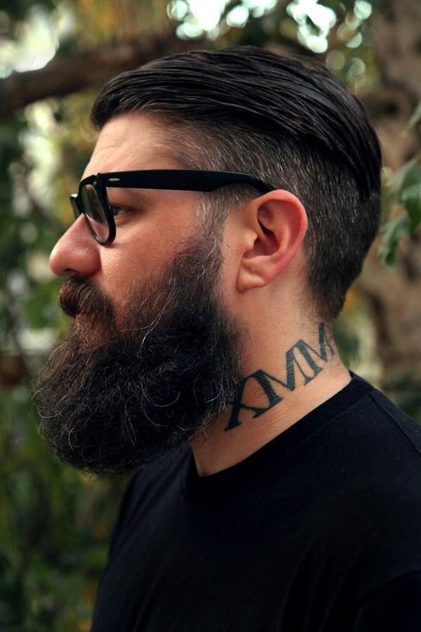 Undercut Hairstyle With Full Beard