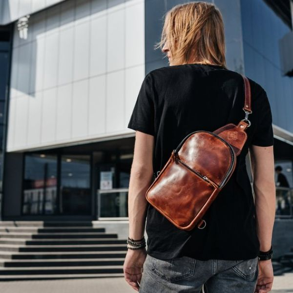 Mens Brown Crossbody Bag