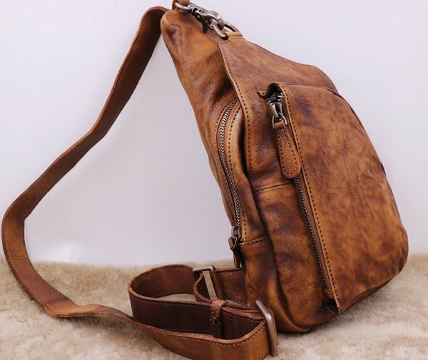 Mens Brown Leather Crossbody Bag