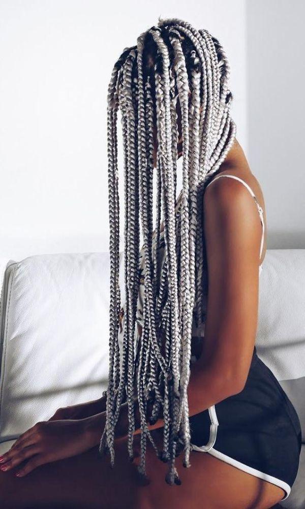 Grey Braids Cornrows