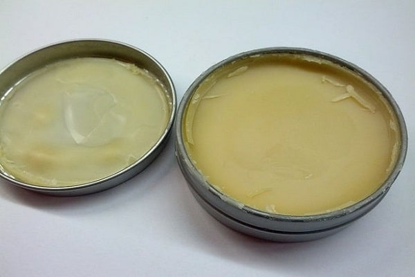 fresh homemade mustache wax in container