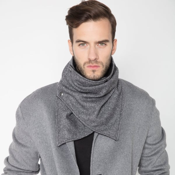gray winter mens scarf with snaps