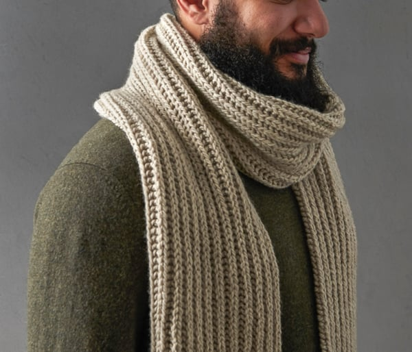 knitted alpaca wool mens scarf