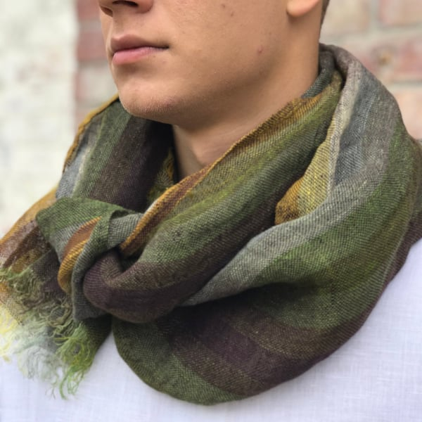 striped lightweight pure linen green mens scarf