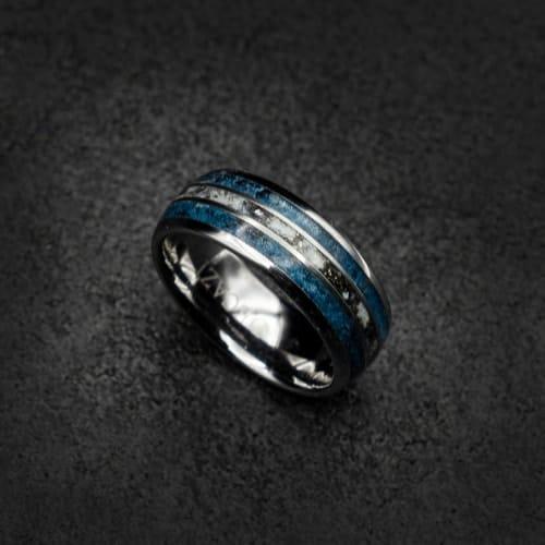 galaxy blue opal tungsten ring