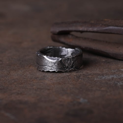 handmade wide sterling silver band