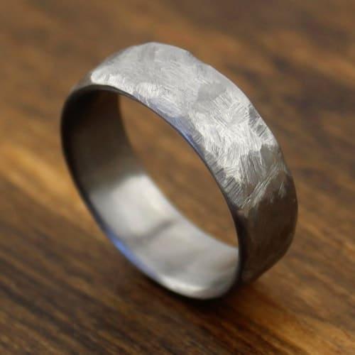 rustic distressed titanium ring