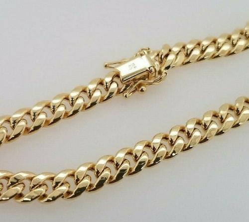 10k yellow cuban link bracelet for men