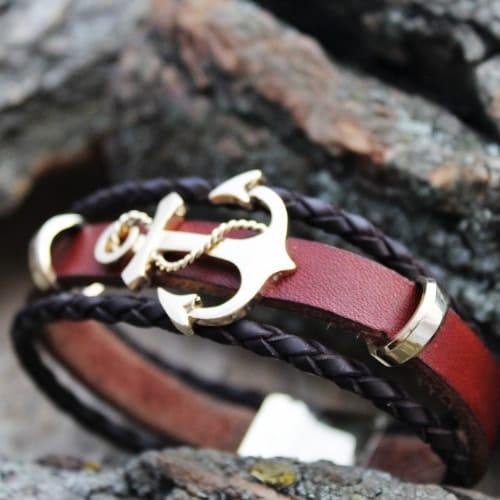 14k gold anchor leather bracelet