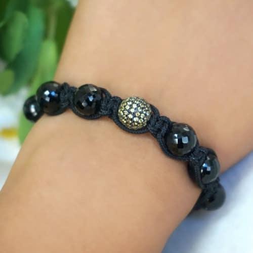diamond pave black spinel beads macrame bracelet