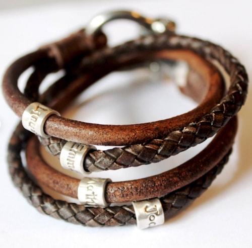 personalized handstamped mens leather bracelet