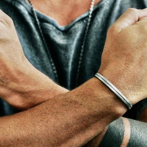 rustic mens silver bracelet